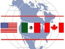 Map of North America and US, Mexico and Canada flags
