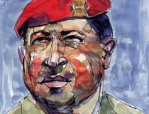 Hugo Chavez watercolor, cc Flickr Arturo Espinosa, modified, https://creativecommons.org/licenses/by/2.0/