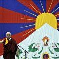 Tibet monk delivering speech