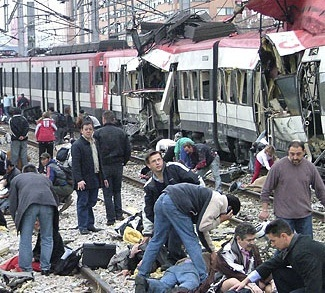 Train damaged by bombing