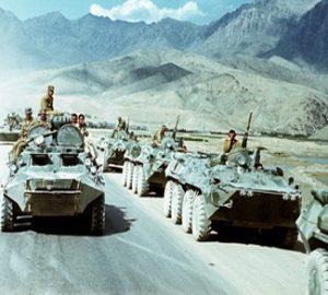 Tanks in streets of rural Afghanistan