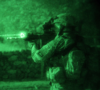 U.S. Army Cpl. Shaun Armstrong, of South Carolina, assigned to 2nd Battalion, 377th Parachute Field Artillery Regiment, 4th Brigade Combat Team, 25th Infantry Division, scans the area during an air-assault mission in Khost province, Afghanistan, as part of Operation Champion Sword, Aug. 2. Afghan national security forces and International Security Assistance Forces teamed up for the joint operation, targeting specific militants in eastern Afghanistan., US Army, public domain