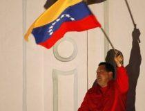 Venezuelan President Hugo Chavez celebrates at Miraflores Palace in Caracas