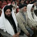 Delegation members of Pakistani Islamist leader Soofi Mohammad attend a meeting in Peshawar
