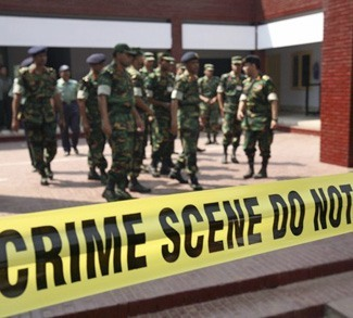 Members of an army investigation team inspect the grounds of the Bangladesh Rifles in Dhaka