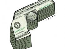 Dollar bills in shape of gun