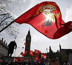 Tamil protesters demonstrate on Parliament square outside the Houses of Parliament in London