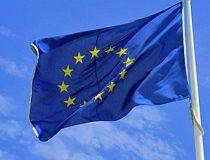 Circle of stars on blue flag
