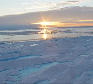 Sun setting in the Arctic