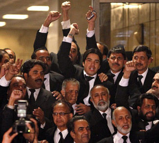 Lawyers outside Supreme Court of Pakistan in Islamabad