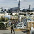 Military supplies and US soldier