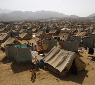 View of al-Mazraq camp in the western Yemeni province of Hajjah