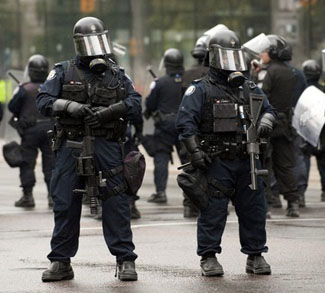 Canadian Police stand guard at G20