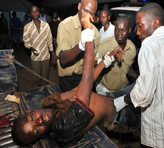 Injured man in Kampala Attack