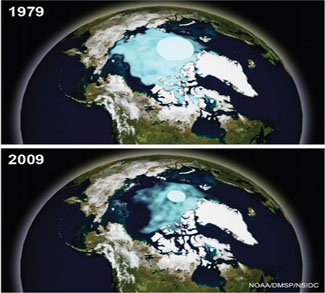 NOAA images show September Arctic sea ice in 1979 and 2009