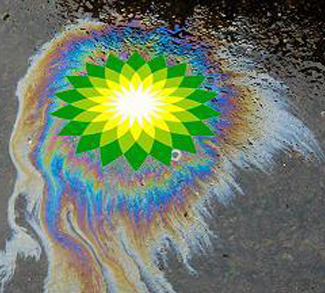 BP logo over areal footage of oil spill