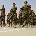 Afghan Army marches in street