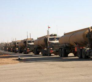 US military trucks line up