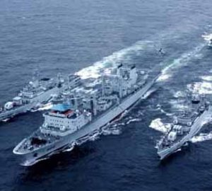Military ships in South China Sea