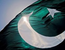 Crescent moon and star on Pakistani flag