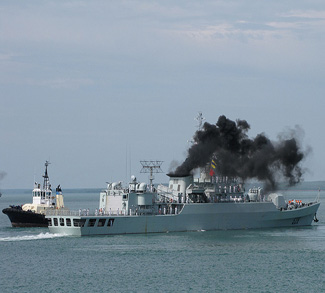 Naval Ship on fire