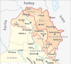 Political map of Middle Eastern Boarders