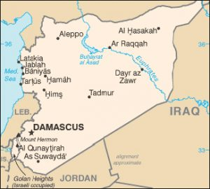Political map of Syria before the country was torn apart by the Syrian civil war.