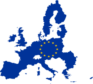 EU symbol on map