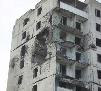 Bomb damaged building