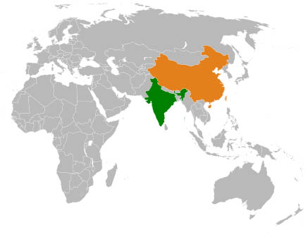 China and India political map
