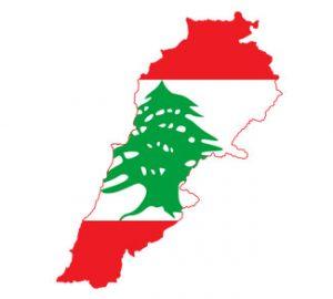 Lebanese flag on outline of Lebenon