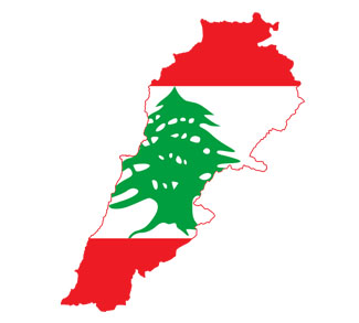 Lebanese flag on outline of Lebenon