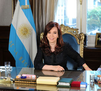 Argentinian President and Argentinian flag