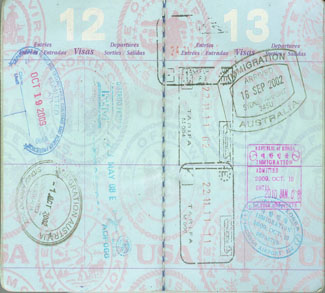 Visa Stamps in Australian Passport