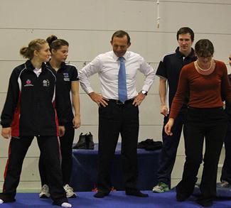 Australian Prime Minister Tony Abbott lectures