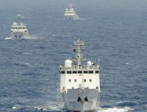 Three Northeast Asian ships in ocean