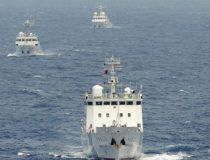 Three Northeast Asian ships in ocean