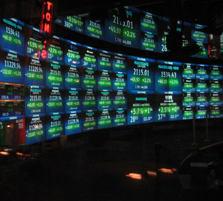 Stock values on screens
