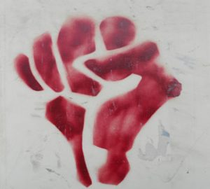 stray paint of Arab Spring protest fist