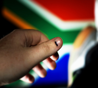 South African flag and person