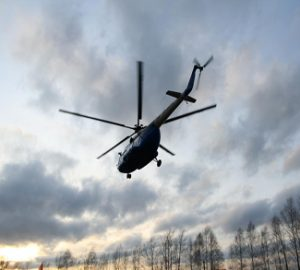 Helicopter flying over Ukraine