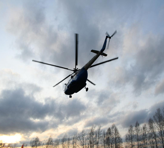 Helicopter flying over Ukraine