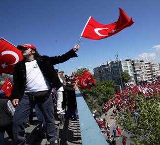 A rally against Turkish president Erdogan