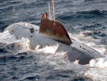 an Indian Akula Class Submarine surfaces.