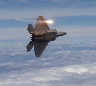 An F22 launching an airstrike