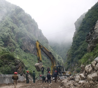 Construction on the China-Nepal Friendship Highway, cc Steve Hicks