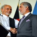 Ashraf Ghani shakes hands with Abdullah Abdullah cc Wikicommons
