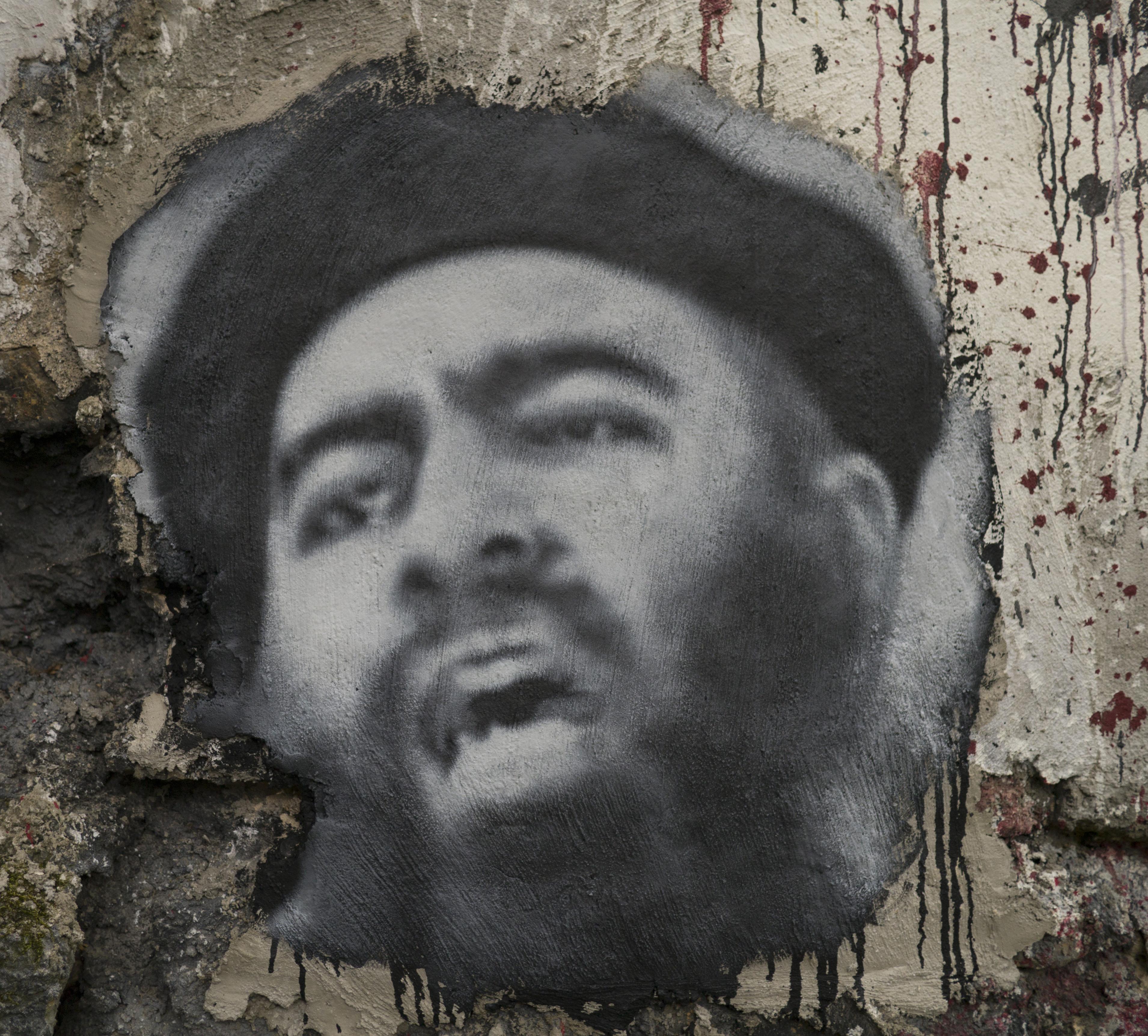 Grafitti of al-Baghdadi, the leader of Islamic State.