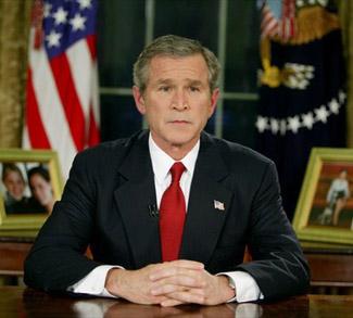 Bush announcing Iraqi Freedom, cc wikicommons