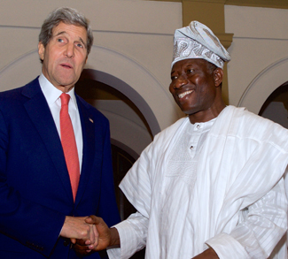 Nigeria President Goodluck Jonathan and John Kerry, cc Glen Johnson